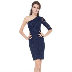 New Ever Pretty Navy Blue Lacy Sexy Dress